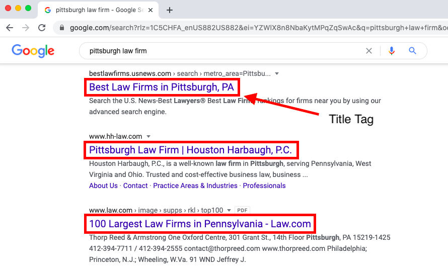arrow pointing to title tag on SERP
