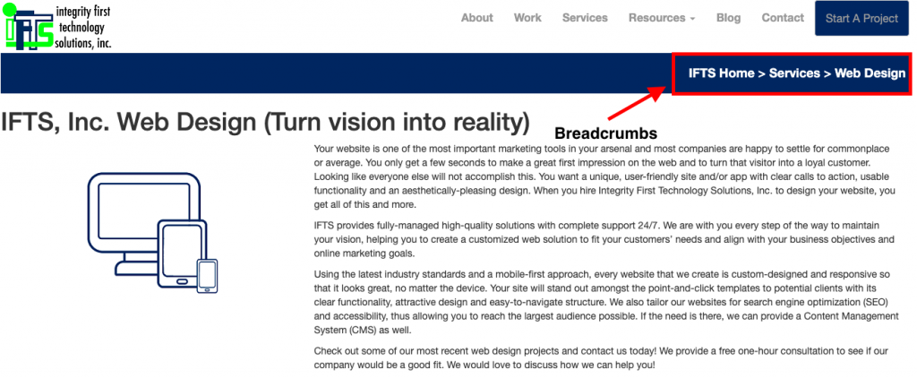 example of breadcrumbs on IFTS website